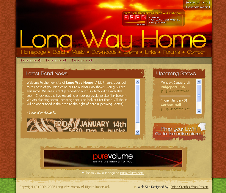 Long Way Home Band Website Design