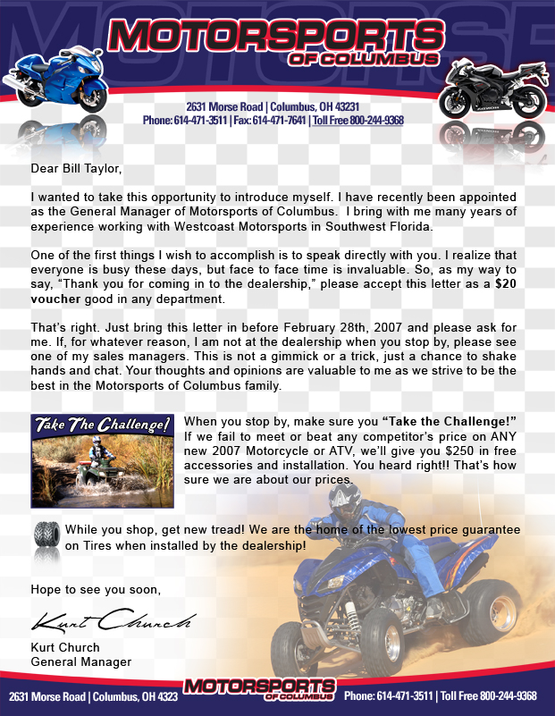 Motorsports of Columbus Letterhead Design