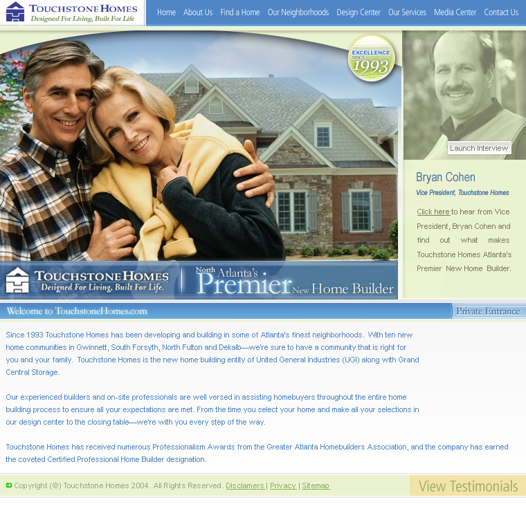 Touchstone Homes Web Design